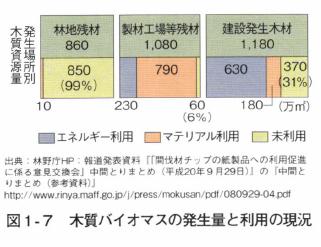 図1‐ 7 木質バイオマスの発生量と利用の現況